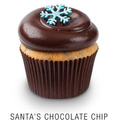 Vanilla chocolate chip cupcake with  a whipped Callebaut chocolate frosting topped  with a fondant snowflake