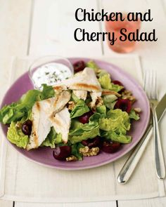 Cherry Recipes | Martha Stewart Living - Sour cream, goat cheese, chives, and white-wine vinegar make a marvelous dressing for this elegant chicken salad. Arrange slices of pan-seared chicken, halved fresh Bing cherries, and walnuts over a bed of Boston lettuce and serve with the goat cheese dressing on the side.