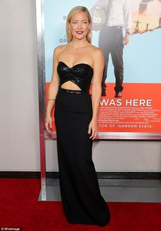 Kate Hudson looked incredible in her floor length black dress with a cutout detail as she attended the Wish I Was Here screening in New York City http://dailym.ai/W79hJ1