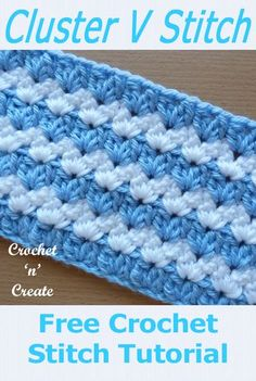 Chunky and warm cluster v-stitch, a free crochet tutorial from #crochetncreate use it for baby strollers, cot blankets or bed covers, #crochetblankets #crochetbabyblankets #crochet #howto #crochetpatterns #freecrochetpatterns #easypatterns #freepatterns #diy #crafts""