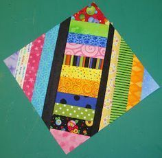 """FABRIC THERAPY: TUTORIAL: """"X"""" MARKS THE BLOCK (free pieced stripy quilt) his is a great scrappy project to help you reduce some scraps and ALL WITHOUT A PATTERN-If you would like to use a foundation, go right ahead...it's all good"""