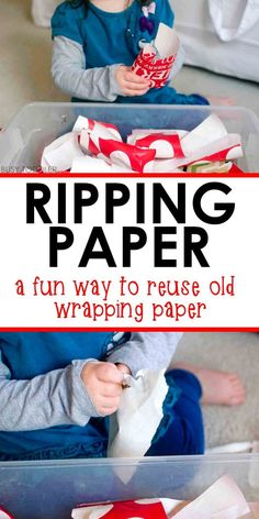 What should you do with left over wrapping paper? Turn those scraps into an easy toddler activity: ripping paper! Toddlers love this fine motor skills bin. Motor Skills Activities, Toddler Learning Activities, Sensory Activities, Infant Activities, Fine Motor Skills, Sensory Bags, Sensory Bottles, Children Activities, Preschool Lessons