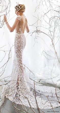 mira zwillinger bridal 2017 cap sleeves vneck guipure lace sheath wedding dress (noelle) bv low back train