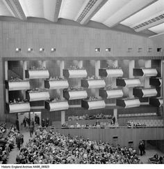 Interior view of the Royal Festival Hall showing people in the stalls and boxes. London Architecture, Beautiful Architecture, Festival Hall, Hall Interior, Uk History, London Theatre, English Heritage, Greater London, Historical Images