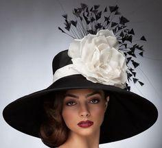 """""""Leslie"""" Black Wide Brim Derby Hat with White Trim by Arturo Rios"""
