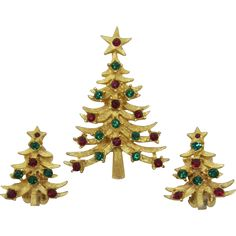 MYLU Red and Green Rhinestone Christmas Tree Pin and Earrings