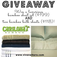 Enter for your chance to win Bamboo Sheets and towels!