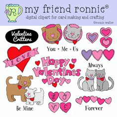 Valentine Cats and Dogs-Clipart Instant Download by MyFriendRonnie on Etsy