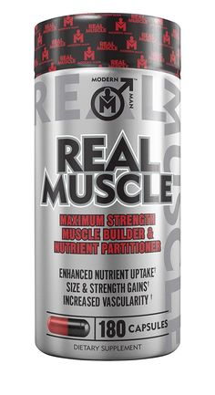 REAL MUSCLE - 7-In-1 Muscle Building Stack by Modern Man, Lean Mass Gainer & Nitric Oxide Booster with Creatine HCL, (AliCarn) L-Carnitine, Epicatechin and 7 More Muscle Building Ingredients, 180 Caps