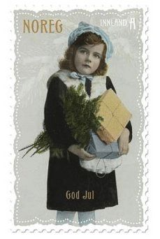 norweigan christmas stamp with photos from old postcards