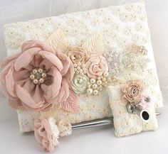 Wedding Guest Book and Pen in Blush, Champagne and Ivory with Lace, Crystal Jewels and Pearls DIY