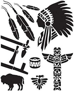 Leather Kits - Leathercraft Easy To Use Stencil - Native American*vector* Native American Patterns, Native American Symbols, Stencil Patterns, Stencil Designs, Tribal Patterns, Design Patterns, Craft Patterns, Leather Kits, Leather Craft