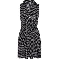 Belle Heart Black Sleeveless Polka Dot Shirt Dress ($13) ❤ liked on Polyvore featuring dresses, polka dot shirt dress, lip print dress, dot print dress, strap dress and button dress