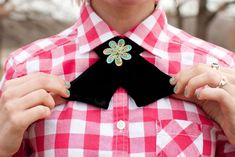 Use black velvet fabric and a statement pin to trick out a collared shirt.
