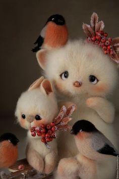 Новости Baby Animals Super Cute, Cute Little Animals, Cute Fantasy Creatures, Cute Creatures, Needle Felted Animals, Felt Animals, Cute Images, Cute Pictures, Cat Eye Colors