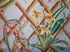 Clarence House Beautiful Kazumi Ratti Hand Print Toile Orchid Lattice Floral Cotton Fabric Drapery Fabric SALE! $14.99/yard  LCH008 Buy Fabric, Printing On Fabric, Cotton Fabric, House Beautiful, Beautiful Homes, Koi Dragon, Geisha Japan, Asian Fabric, Clarence House