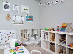 Playroom- low storage / mirrors / magnet board