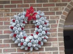 WREATH MADE OF PINE CONES Used pool noodle for wreath form