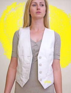 Higgs Leathers  Ronette (ladies White Leather waistcoas)