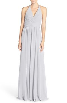 Free shipping and returns on Amsale 'Jennifer' V-Neck Chiffon Halter Gown at Nordstrom.com. Designed to highlight radiant skin and pretty arms, a flowing chiffon gown marries a classic halter bodice and a sweeping column skirt with a figure-nipping ruched waist.