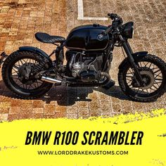 This is a BMW R100 motorcycle customized by Lord Drake Kustoms in a Scrambler style. Ducati Scrambler Custom, Street Scrambler, Custom Bmw, Custom Bikes, Brat Motorcycle, Bmw Boxer, Vespa, Drake, Classic Cars