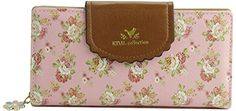 ETIAL Women's Vintage Floral Zip Wallet Faux Leather Card Holder Pink >>> Read more @