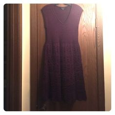 NWT-Beautiful Nine West Purple Sweater Dress NEW!!!! Beautiful Nine West purple light sweater dress. V-neck with gorgeous scalloped skirt. Nine West Dresses Midi