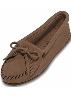 Minnetonka Moccasin Womens Suede Moc Kilty  407T Taupe Suede, $39.95