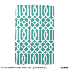 Modern Teal Green and White Trellis Pattern Towel