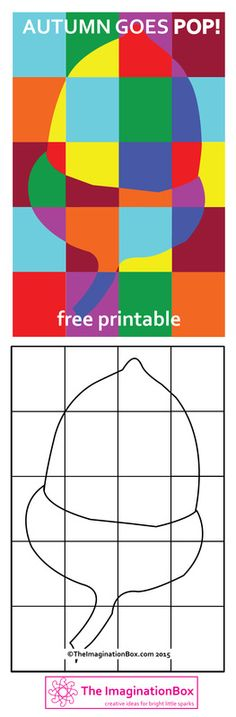 Pop Art Inspired Acorn Activity. Free printable to encourage kids to explore shape, colour, abstract, modern art