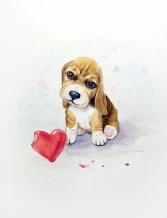 """""""Мне жаль..."""" - милый Бигль щенок с красным сердцем – День Святого Валентина"""
