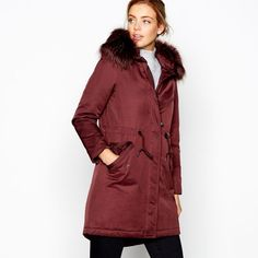 108b35fc5510a8 J By Jasper Conran Women's Dark Red Quilted Parka for Sale - Off Debenhams  Sale Uk with Detachable hood and Designed in a thigh length.