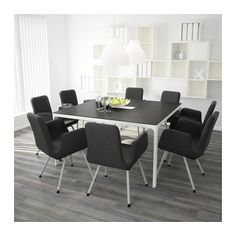 BEKANT Conference table, black-brown, white black-brown/white 55 1/8x55 1/8