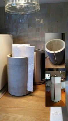 Kitchen roll holder made of concrete . Mold made from shipping rolls, slot milled, oiled. Kitchen roll holder made of concrete . Mold made from shipping rolls, slot milled, oile Cement Art, Concrete Art, Concrete Design, Concrete Casting, Concrete Houses, Concrete Floors, Concrete Crafts, Concrete Projects, Concrete Furniture