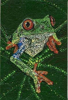 Rachel Dillon, Acrylic Dot Paintings of Animals, endangered Aboriginal Dot Painting, Dot Art Painting, Mandala Painting, Aboriginal Art Animals, Kunst Der Aborigines, Arte Tribal, Frog Art, Mandala Dots, Indigenous Art