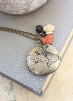 World Map Locket Necklace Cream Rose Charm Long by apocketofposies