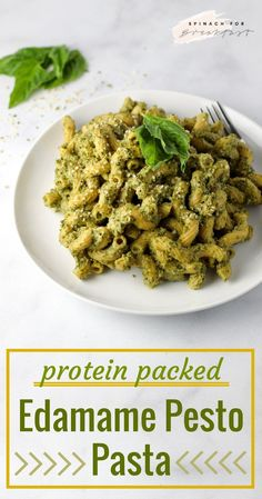 Protein packed edamame pesto pasta -- this super healthy pasta recipe is a winner! packed with protein and other nutrients, this meat-free, dairy-free, Gluten Free Recipes For Breakfast, Healthy Pasta Recipes, Healthy Pastas, Entree Recipes, Vegan Dinner Recipes, Vegan Dinners, Clean Eating Recipes, Vegetarian Recipes, Protein Recipes