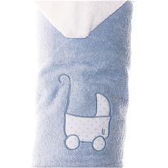 Toalla con capucha para niños azul con un COCHECITO DE BEBE bordado en blanco