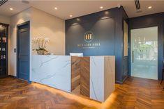 Reception Desk Design, Office Reception, Reception Table, Front Office, Front Desk, Law Office Design, Chiropractic Office, Clinic Design, Desk Areas