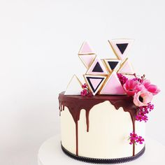 """Spoon and fork cookies and cakes. """"A bit of geo, chocolate and fresh blooms! Happy Birthday Thecla!  #sfsyd_birthday"""""""