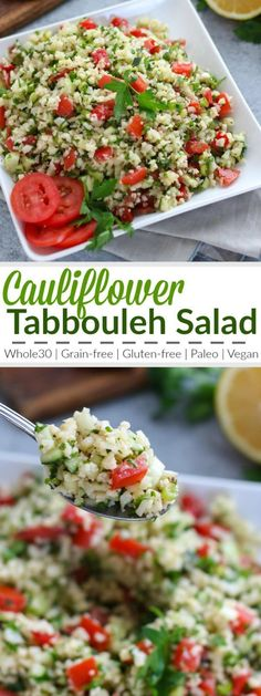 Cauliflower Tabbouleh Salad A fresh grain-free take on a traditional Middle Eastern dish! We've replaced the bulgur wheat with lightly sauteed cauliflower 'rice' for a gluten-free and paleo-friendly side dish to serve with your favorite protein or share Healthy Salad Recipes, Real Food Recipes, Vegetarian Recipes, Cooking Recipes, Bulgur Recipes, Disney Recipes, Disney Food, Healthy Snacks, Cauliflower Tabbouleh
