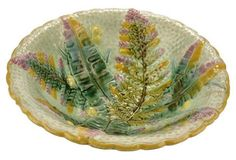 Antique Majolica Fern Fronds Bowl