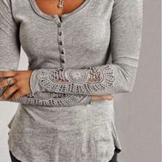 Sexy Damen Spitze Crochet Langarm Bluse T-Shirt Tunika Tops Hemd Oberteil 34-42 de.picclick.com