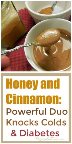 Honey and Cinnamon ~Powerful Duo Knocks Colds and Diabetes. See how together it increases their power exponentially. Honey and Cinnamon ~Powerful Duo Knocks Colds and Diabetes. See how together it increases their power exponentially. Cold Remedies, Natural Home Remedies, Natural Healing, Herbal Remedies, Holistic Healing, Health Remedies, Bloating Remedies, Diabetes Remedies, Natural Oil