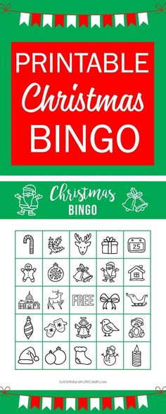This Printable Christmas BINGO is perfect for a school holiday party or a holiday themed family game night. A great Christmas activity for kids! Sunshine and Hurricanes. via Holiday Printable Christmas BINGO