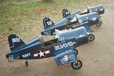 F4u-1 Corsair Jr. Pedal Airplane, blueprints and assembly plans. Choice of simple plywood and rib & spar fabric covered wings. Assembly guid...