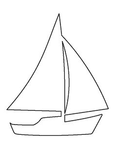 Sailboat pattern. Use the printable outline for crafts, creating stencils, scrapbooking, and more. Free PDF template to download and print at http://patternuniverse.com/download/sailboat-pattern/