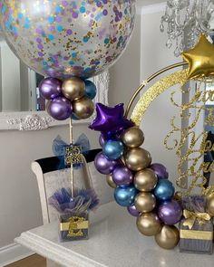 Balloon ideas for kids Balloon Tower, Balloon Columns, Balloon Garland, Birthday Balloon Decorations, Balloon Centerpieces, 60th Birthday Balloons, Shower Centerpieces, Happy Birthday Video, Happy Birthday Signs