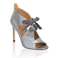 Wedding Accessories Xanthe Silver Leather Sandal with Embellishments. This beauty will transform any look this season. A must have in every closet. High Heel Shoes designed by Fiona Kotur