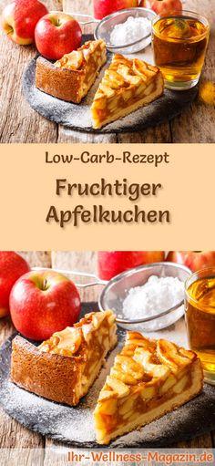 Rezept für Low Carb Apfelkuchen: Der kohlenhydratarme, kalorienreduzierte Kuchen wird ohne Zucker und Getreidemehl zubereitet ... #lowcarb #kuchen #backen